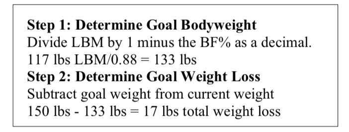 Calculating Goal weight for a Specific Body Composition