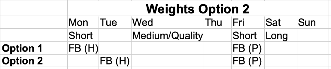Marathon Weights Option 2