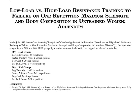Low Load Training Study Addendum