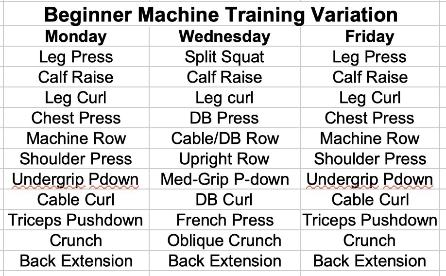 Beginner Machine Training Variation