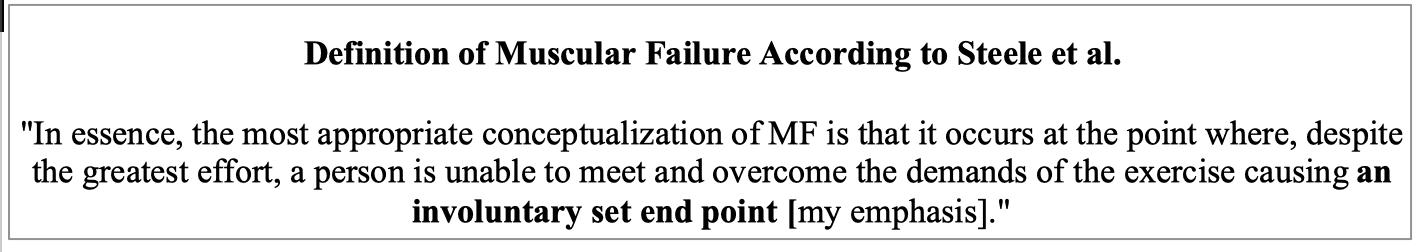 Steele Definition of Muscular Failure